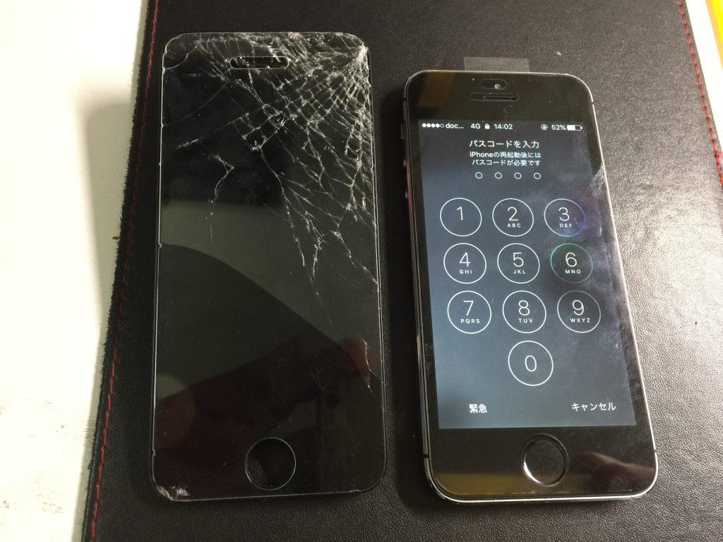 iPhone5s 角を落として液晶バリバリにつき新品に交換です!3