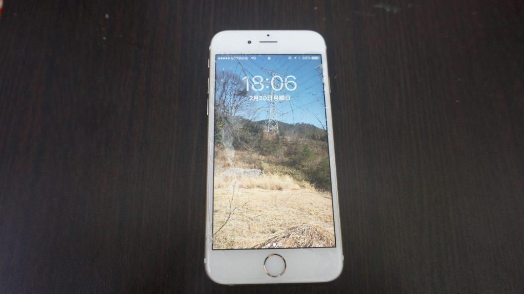 液晶割れ iPhone6s 1