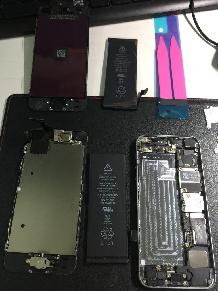 液晶交換バッテリー交換 iPhone5s 2
