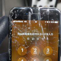 左上から落下ガラス割れ 液晶パネル交換 iPhone7 2