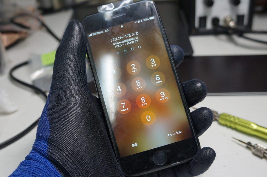 左上から落下ガラス割れ 液晶パネル交換 iPhone7 7