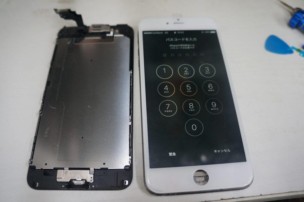 バイブスイッチあたりを強打し画面割れ 液晶パネル交換 iPhone6 Plus 4